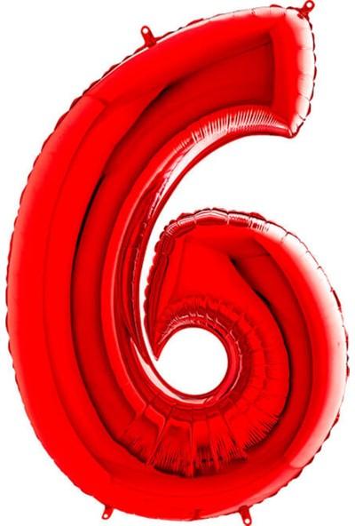 Partifabrik Kırmızı Rakam Folyo Balon 6 100 cm
