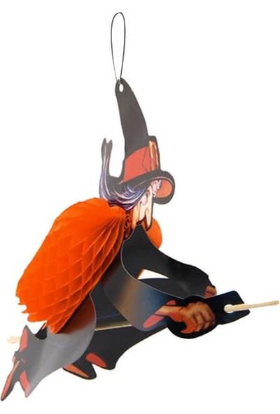 Partifabrik Halloween Süpürgeli Cadı Süs 30 cm