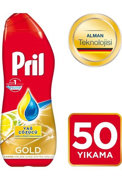 Pril Gold Jel Sıvı Bulaşık Makinesi Deterjanı Yağ Çözücü Limon ve Misket Limonu Kokulu 50 yıkama