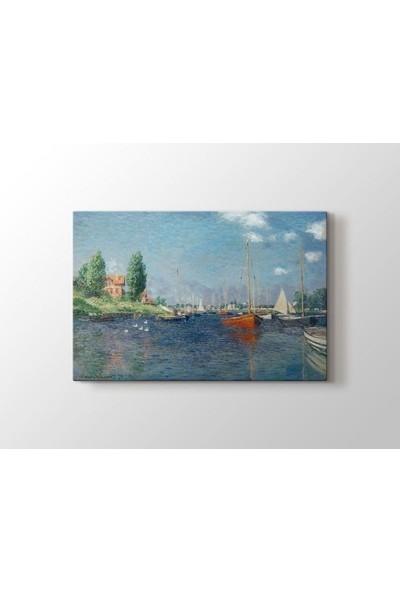 Tablo Kanvas Claude Monet - Red Boats at Argenteuil Tablo