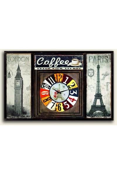 Tablo Kanvas London Paris Coffe Duvar Saati Tablo