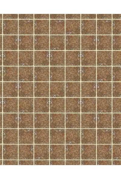 Eshel Maket Desenli Karton Fayans Kahve Kare Taş 1/100 - 3'lü