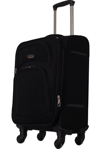 Ççs 409 4 Tekerlekli Orta Boy Kumaş Valiz Siyah