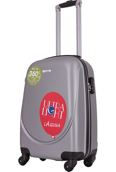 Laguna 2022-2 Pvc Gri Büyük Boy Valiz Bavul