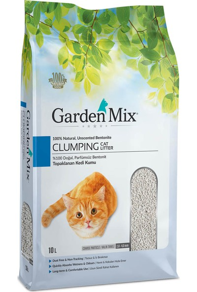 Gardenmix Kalın Taneli Parfümsüz Bentonit Kedi Kumu 10 Lt