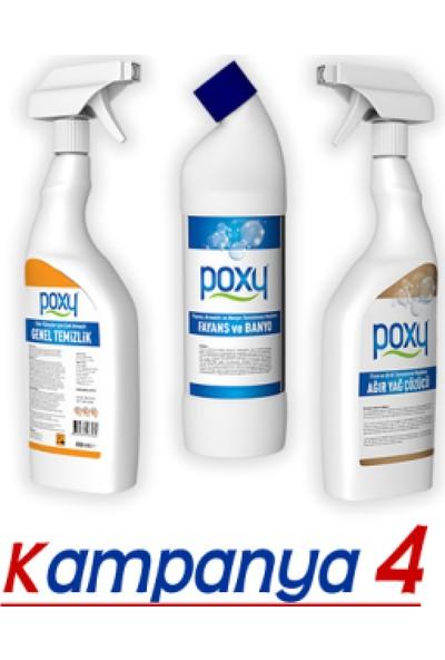 Poxy Temizlik Set 4 Genel Temizlik + Fayans Temizleyici + Yağ Çözücü