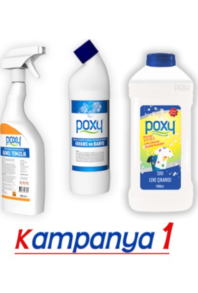 Poxy Temizlik Seti 1 Genel Temizlik + Fayans Temizleyici + Leke Çıkarıcı