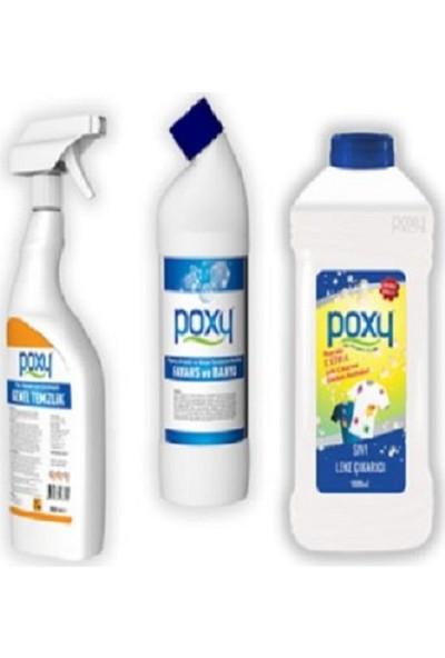 Poxy Temizlik Seti 3 Genel Temizlik + Fayans Temizleyici +Leke Çıkarıcı + Bulaşık Deterjanı