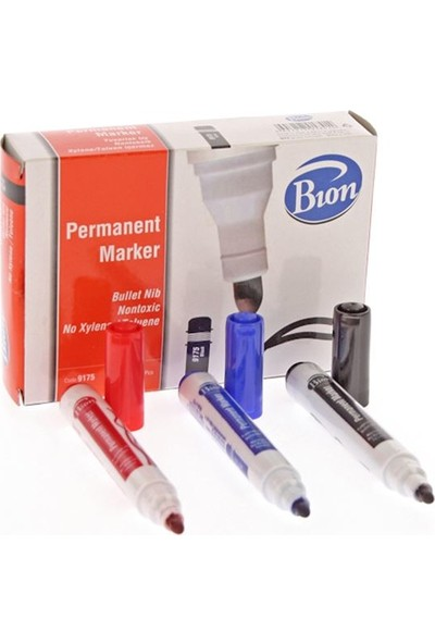 Bion Permanent Marker 9177- Kesik Uç Siyah 12Li