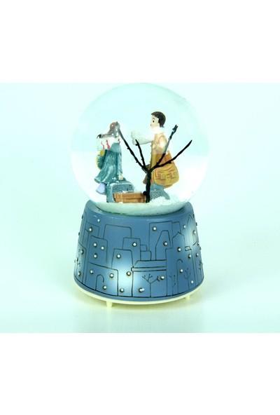 Katarsis Kış Masalı Sevgili Kar Küresi Işıklı Pilli Müzikli Orta Boy