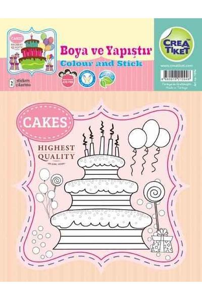 Crea Etiket Boyama Happy Bırthday 3 Kat Pasta 1094