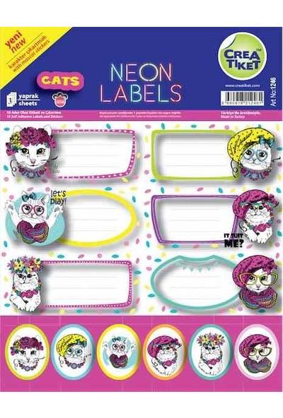 Crea Defter Etiketi Çık. Neon Cats 1246