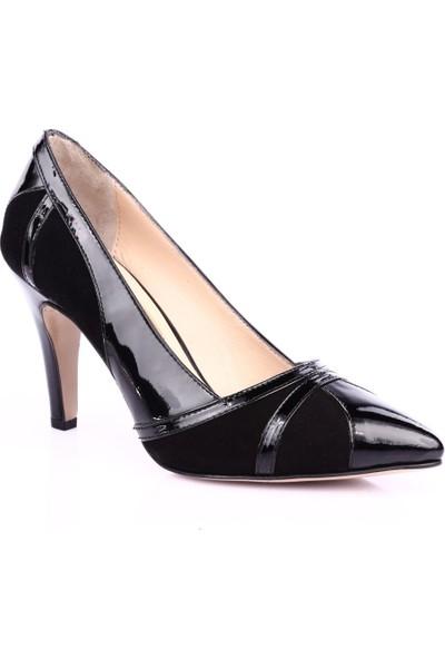 Dgn 355 Kadın Sivri Burun 11 Pont Topuklu Ayakkabı Siyah Süet Siyah Rugan