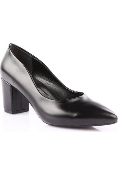 Dgn 603 Kadın Sivri Burun Topuklu Ayakkabı Siyah Lazer