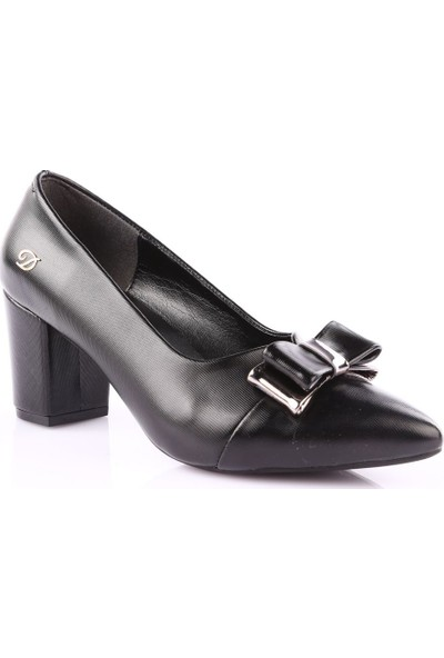 Dgn 604 Kadın Sivri Burun Topuklu Ayakkabı Siyah Lazer
