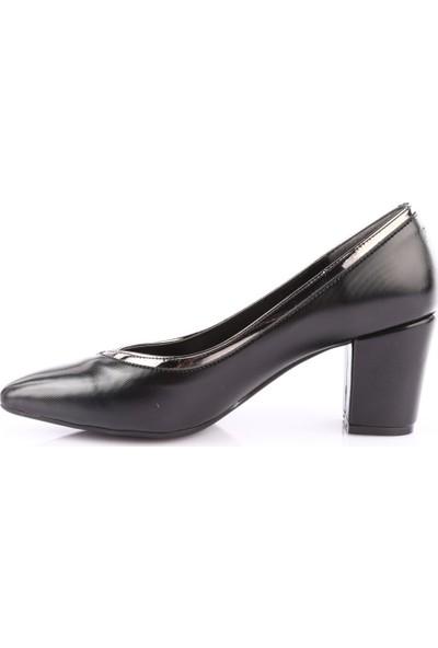 Dgn 606 Kadın Sivri Burun Topuklu Ayakkabı Siyah Lazer