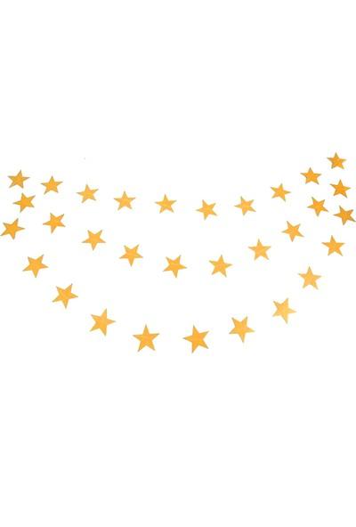 Balonpark Gold Altın Sarısı Asmalı Yıldız Tavan Süslemeleri İpli Sarkıt Süs