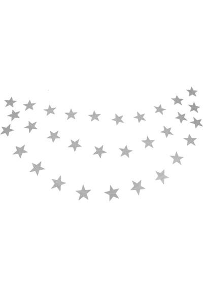 Balonpark Gümüş Gri Asmalı Yıldız Tavan Süslemeleri İpli Sarkıt Süs