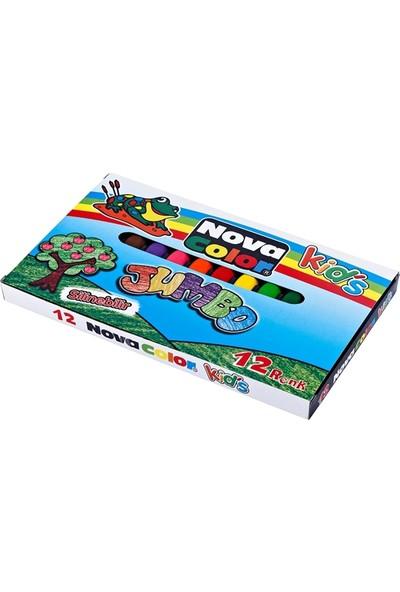 Nova Color Silinebilir Crayon 12 Renk Jumbo Boya Kalemi Nc-2124