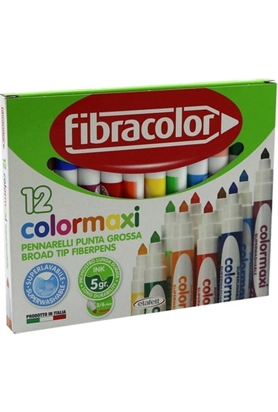 Fibracolor 12 Renk Jumbo Keçeli Kalem