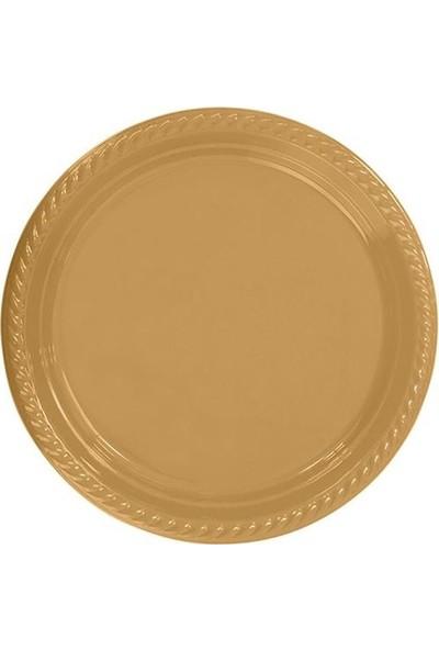 Parti Feneri Gold Renkli Plastik Tabak 25 adet