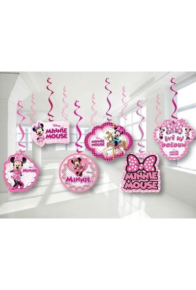 Parti Feneri Minnie Mouse Tavan Asmalı İp Süs 6 adet