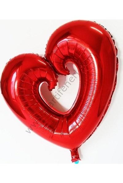Parti Feneri Kırmızı Renkli İçi Boş Kalp Şekilli Folyo Balon 100 cm