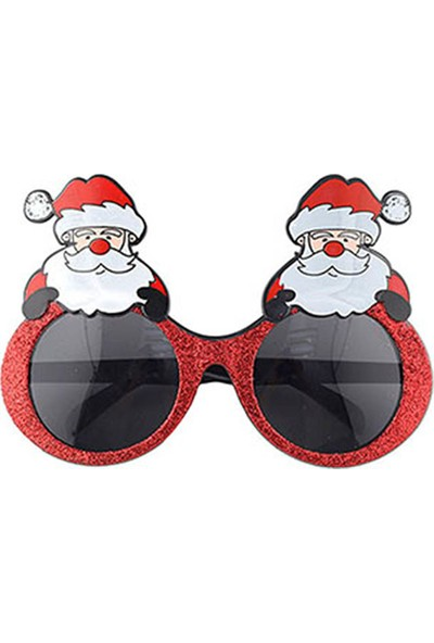 Noel Baba Kırmızı Simli Gözlük