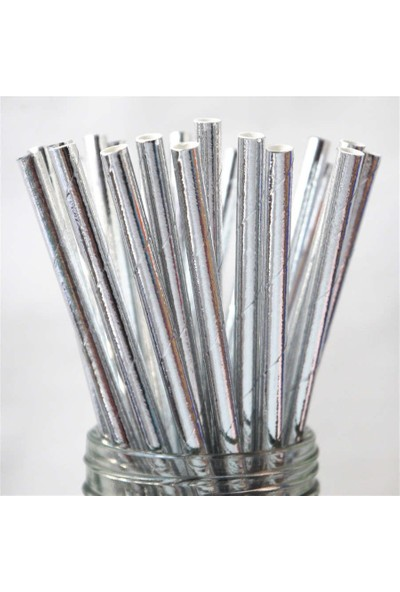 Parti Feneri Gümüş Renkli Pipet 25 Adet
