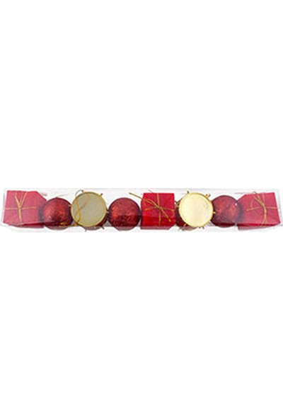 Yılbaşı Ağaç Süsü Kırmızı Davullu 5 cm 8li