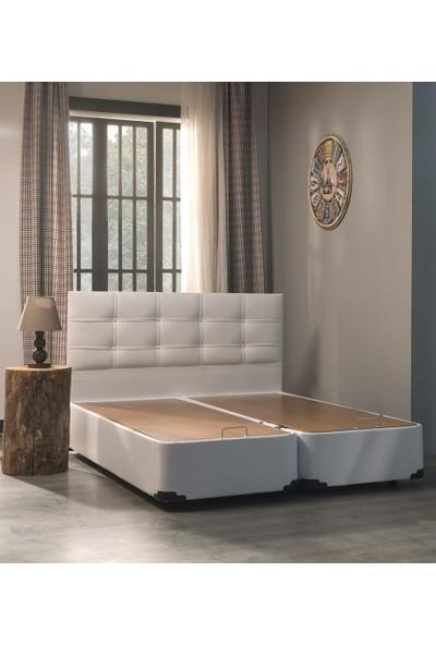Ellaronia Çift Kişilik Metal Ayaklı Beyaz Baza + Başlık Seti-160 x 200