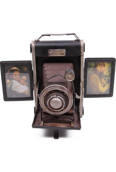 Evim Tatlı Evim Nostaljik Metal Fotoğraf Makinası Ve Fotoğraf Çerçevesi