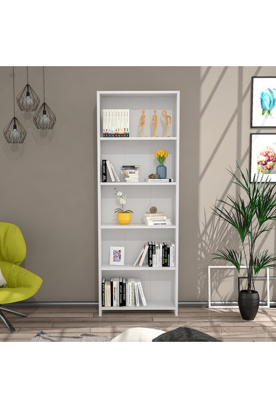 Eyibil Mobilya Martı 5 Raflı Modern Kitaplık Beyaz