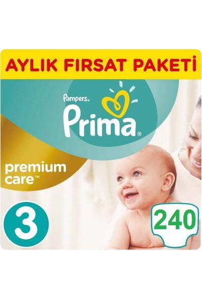 Prima Bebek Bezi Premium Care 3 Beden Midi Aylık Fırsat Paketi 240' lı