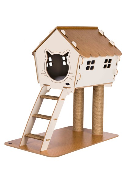 Patihomes XL Merdivenli Kedi Evi Tırmalamalı Bej