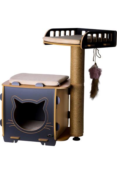 Patihomes Kedi Evi ve Kedi Tırmalama Yataklı Gri
