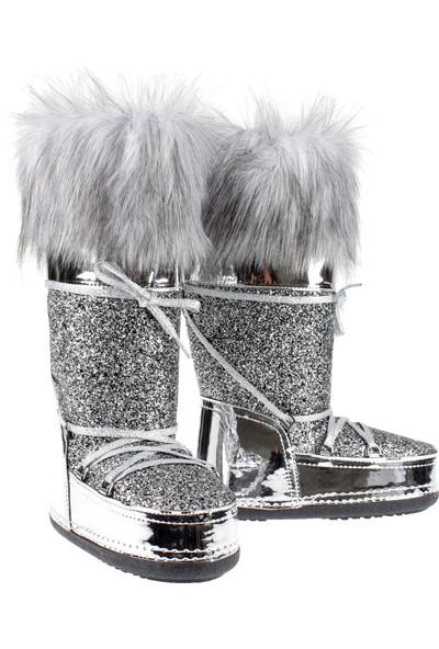 Shalin Kadın Çizme Ft 2023 Gümüş