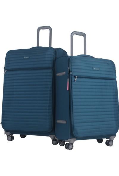 2663c2ba79bac It Luggage Ultra Light Büyük ve Orta Boy Kumaş Valiz Seti Petrol 2148 ...