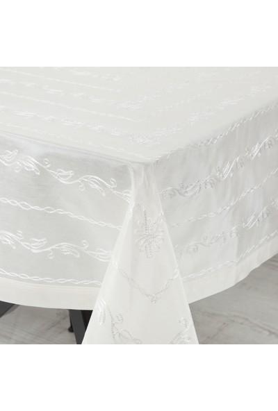 İpek Suzane İşli Masa Örtüsü 160x160 Cm