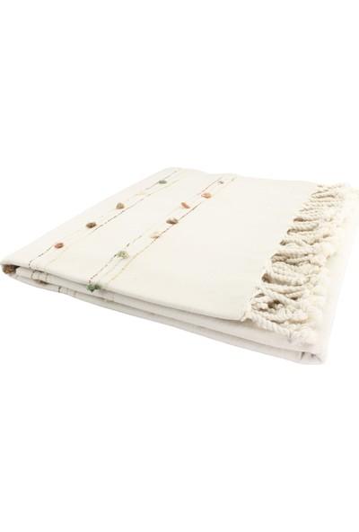 El Dokuması Ponponlu Masa Örtüsü 150x240 Cm Krem-Yeşil-Kahve