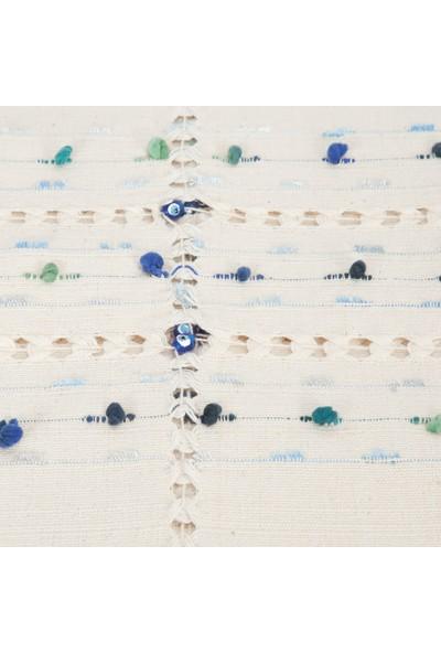 El Dokuması Ponponlu Masa Örtüsü 150x150 Cm Krem-Mavi-Turkuaz