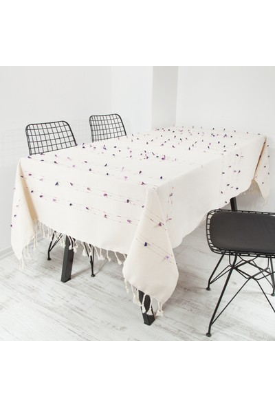 El Dokuması Ponponlu Masa Örtüsü 150x240 Cm Krem-Mor-Lila