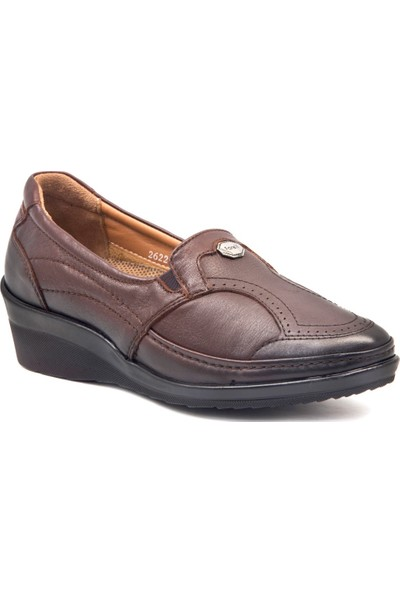 Forelli 26226 Kadın Kahve Deri Halluks Comfort Ayakkabı