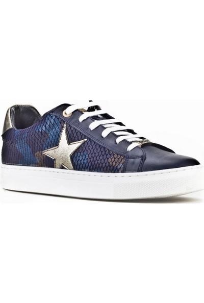 Cabani Özel Tasarım Bağcıklı Sneaker Kadın Ayakkabı Lacivert Deri