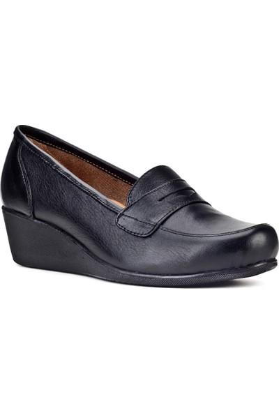 Cabani Dolgu Topuklu Kemerli Comfort Günlük Kadın Ayakkabı Siyah Deri