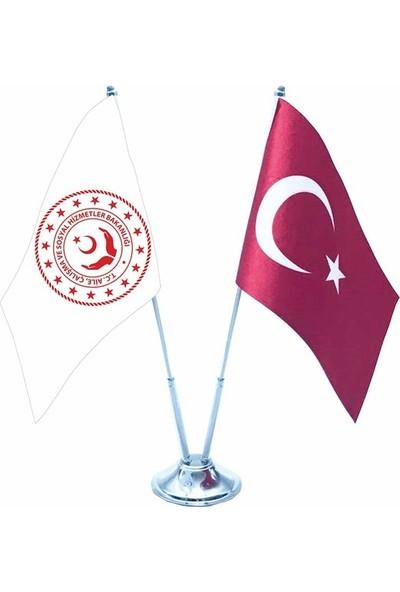 Meteor Aile, Çalışma Bakanlığı Yeni Logo Ve Türk Bayraklı Krom Direk İkili Masa Bayrağı 15X22,5Cm