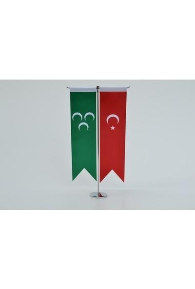Meteor Osmanlı Bayrağı Ve Türk Bayrağı Kırlangıç Masa Bayrak Takımı