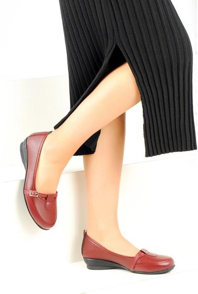 Pembe Potin Bordo Kadın Ayakkabı