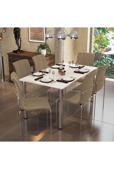 Modi̇layn Meriç Masa Takım 6 Kahve Klas Sandalye Metal Krom