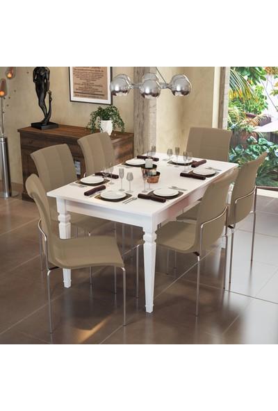 Modi̇layn Flora Yemek Masa Takımı Klas 6 Sandalye Kahve